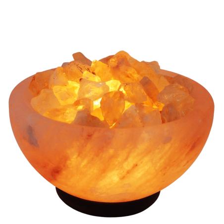 מנורת מלח הימלאיה טבעי מלוטש בצורת קערה עם גבישי קריסטל סיטרין גולמיים