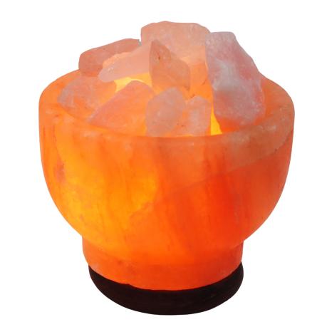 מנורת מלח הימלאיה טבעי מלוטש בצורת גביע עם גבישי קריסטל רוזקוורץ גולמיים