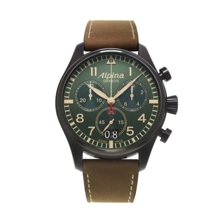 שעון Alpina Startimer Pilot Big Date Chronograph Military Matte Military Ggreen