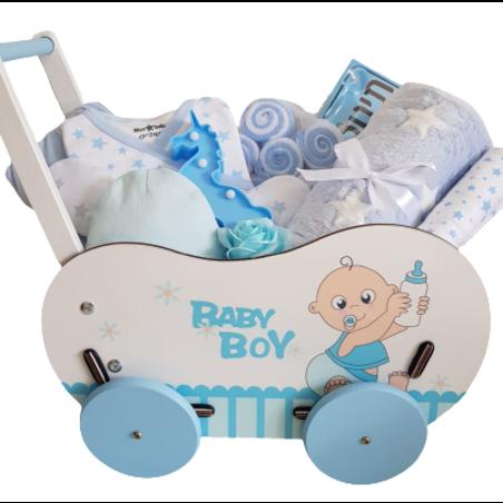 מארז עגלה מעץ - Baby Boy
