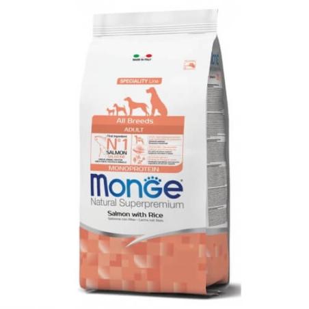 MONGE MONOPROTEIN מונג' מונופרוטאין לכלב בוגר על בסיס סלמון ואורז 12 ק