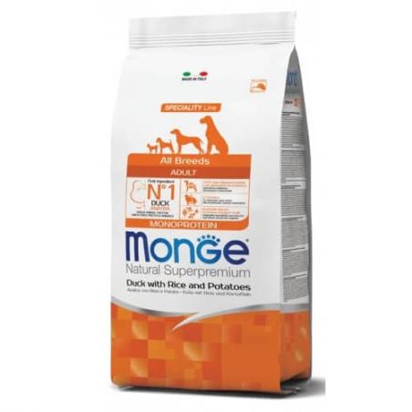 MONGE MONOPROTEIN מונג' מונופרוטאין לכלב בוגר על בסיס ברווז, אורז ותפוחי אדמה 12 ק