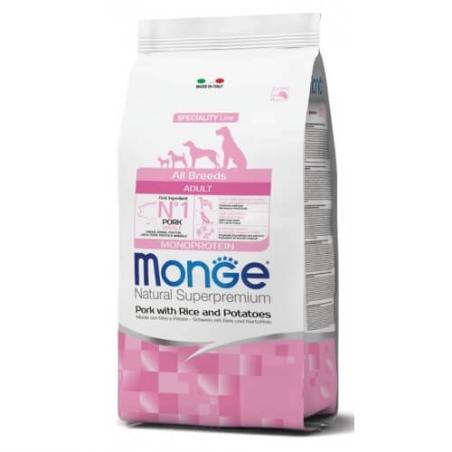 MONGE MONOPROTEIN מונג' מונופרוטאין לכלב בוגר על בסיס חזיר אורז ותפוחי אדמה 12 ק