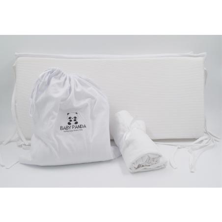 סט מצעים מלא למיטת תינוק   ג'רסי וופל לבן שלג