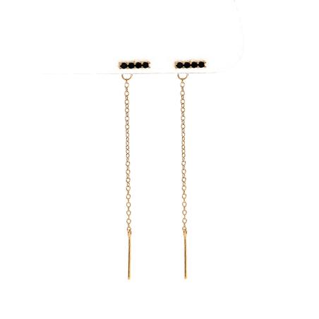 עגילי קוואטרו זירקונים - כסף 925 בציפוי זהב מיקרוני