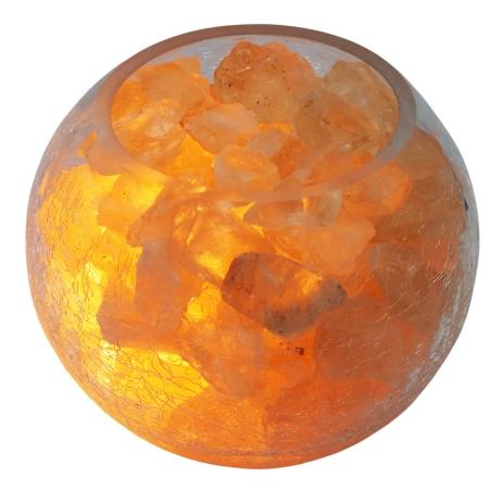 מנורת גבישי סיטרין דקורטיבית בקערה בדוגמת זכוכית סדוקה