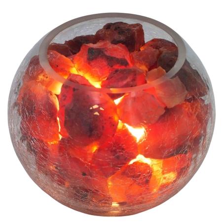 מנורת גבישי קרנליאן דקורטיבית בקערה בדוגמת זכוכית סדוקה