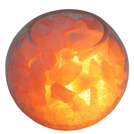 מנורת גבישי רוזקוורץ דקורטיבית בקערה בדוגמת זכוכית סדוקה