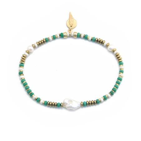 צמיד רגל סינדי - טורקיז, שמנת, זהב