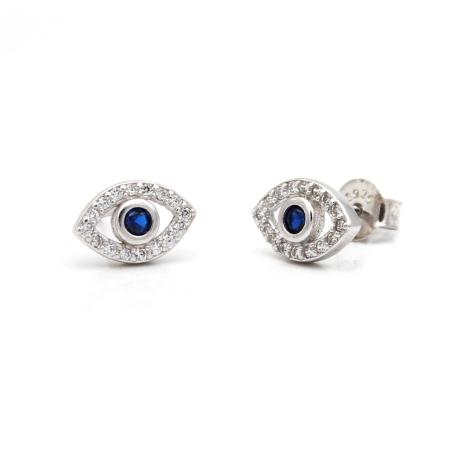 עגילי עין זירקונים שקופים - כסף 925