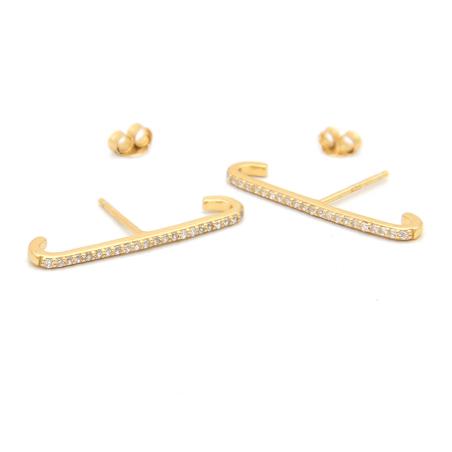 עגילי חבק זירקונים ארוך - כסף 925 בציפוי זהב מיקרוני
