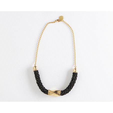 שרשרת בת שבע   תכשיט גיאומטרי   תכשיט שחור מוזהב & זהב