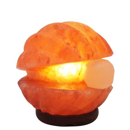 מנורת גביש מלח הימלאיה בצורת צדפה