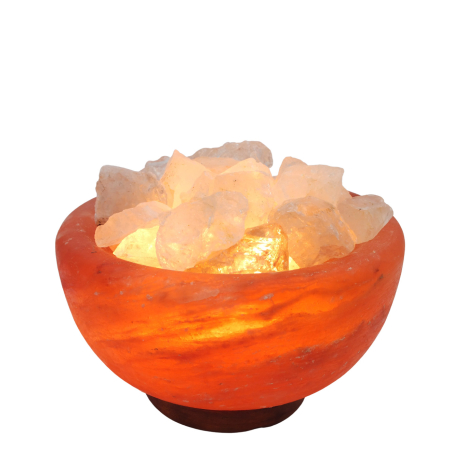 מנורת מלח הימלאיה טבעי מלוטש בצורת קערה עם גבישי קוורץ קריסטל גולמיים