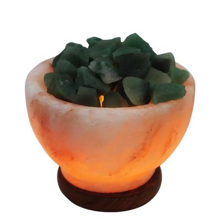 מנורת מלח הימלאיה טבעי מלוטש בצורת גביע עם גבישי קריסטל אוונטורין גולמיים
