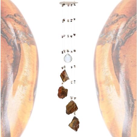 מובייל ספירלה משולב אבני עין הנמר גולמיות 5 זרועות 65 ס