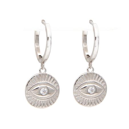 עגילי חישוק פלטה עגולה עין זירקון - כסף 925