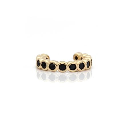 עגיל חבק עיגולים זירקונים שחורים - כסף 925 בציפוי זהב מיקרוני