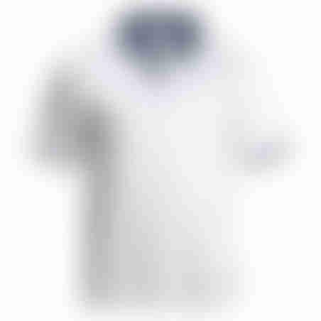 פולו קצר צווארון פסים - לבן