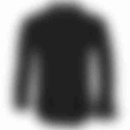 חולצת כפתורים כותנה גימור סטן  - שחור