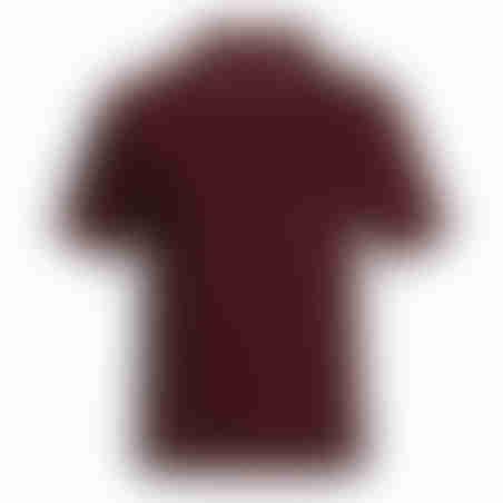 פולו קצר משבצת בצווארון - בורדו