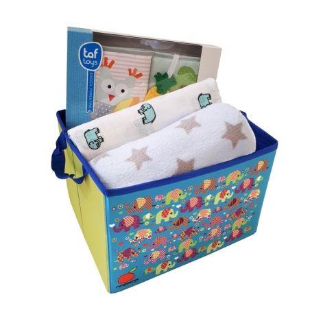 8# - אושר ענוג לבן : קופסת צעצועים, ספר בד 1-2-3 עם מילוי קשיח, שמיכה רכה, כירבולית טטרה ענקית