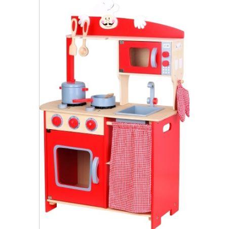 מטבח עץ כפרי אדום לילדים