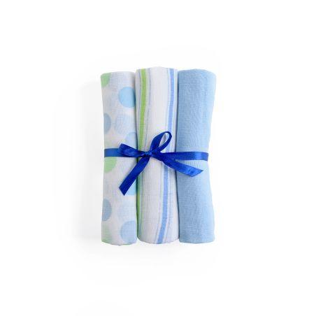 שלישיית חיתולי טטרה צבעוניים - כחול