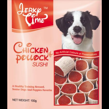 חטיף ג'רקי טיים משלים עם בשר עוף (בצורת סושי) מכיל 100 גרם
