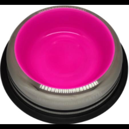 קערת נירוסטה למזון מגומי בעומק 0.90 - צבע ורוד