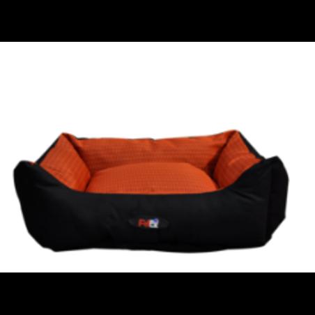 מיטת כלב משובץ כתום ושחור מידות: 24*70*90