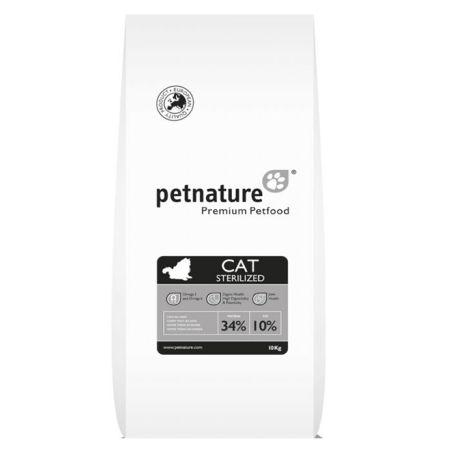 פט נייצר מזון יבש לחתולים בוגרים מסורסים עוף 10 קילו - pet nature