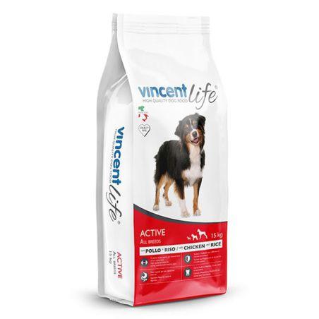 וינסנט לייף אקטיב -מזון יבש לכלבים בוגרים, עוף 15 ק