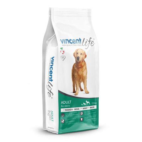וינסנט לייף -מזון יבש לכלבים בוגרים, בקר 15 ק