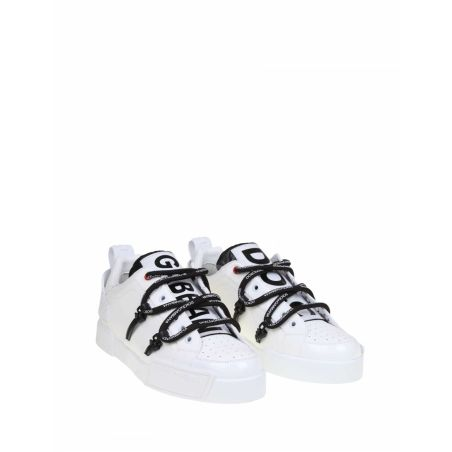DOLCE & GABBANA - PORTOFINO SNEAKERS IN CALFSKIN AND PATENT LEATHER