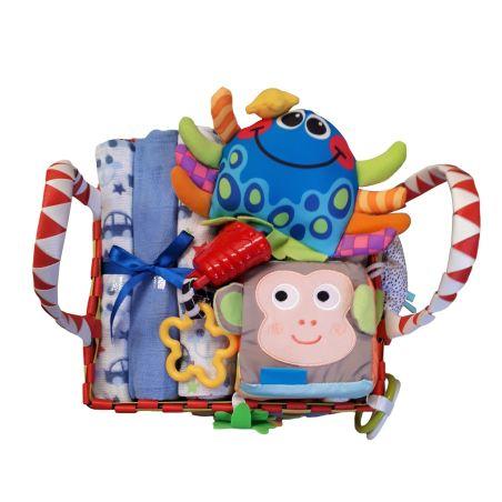 27# - קסם לו : חבילת לידה כיפית ובה סל צבעוני קלוע המכיל קוביית סקרנות צבעונית אינטראקטיבית, שלישיית חיתולי טטרה ובובה מנגנת נתלית של חברת פליי גרו