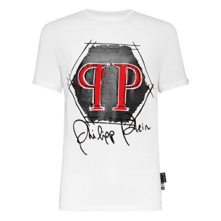 PHILIPP PLEIN - T-shirt Platinum Cut Round Neck Hexagon