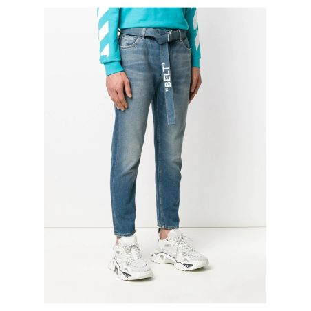 OFF-WHITE -slim low crotch medium blue jeans
