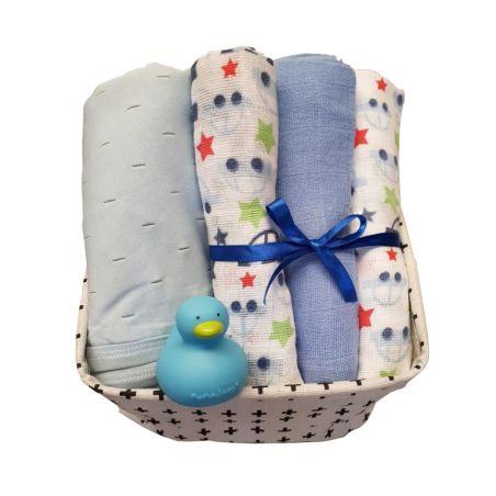 21# - מתוק לו : ערכה מפנקת של סל בד בשחור-לבן המכיל שלישיית חיתולי טטרה, שמיכת תינוק רכה וברווזן לאמבט