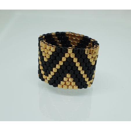 טבעת שחור / זהב