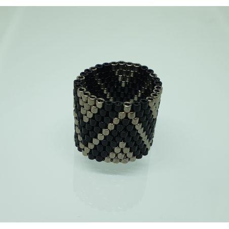 טבעת שחור / כסף