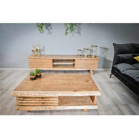 מזנון +  שולחן מעוצב מעץ מלא   דגם בלתי גזום