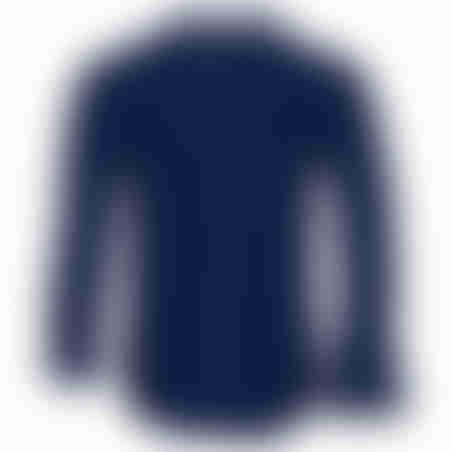 חולצת כפתורים כותנה גימור סטן- נייבי