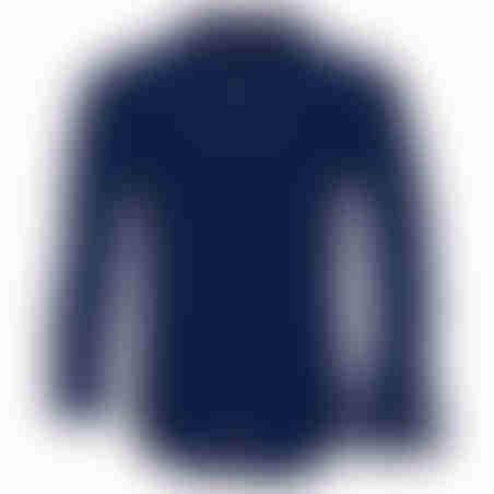 חולצת כפתורים משבצות בצווארון - נייבי