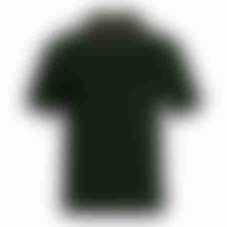 פולו קצר משבצת בצווארון - ירוק כהה
