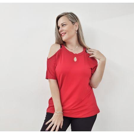 חולצה חושפת כתפיים אדום- SALE
