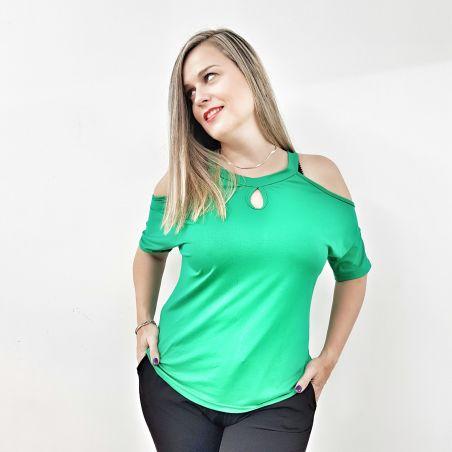 חולצה חושפת כתפיים ירוק- SALE