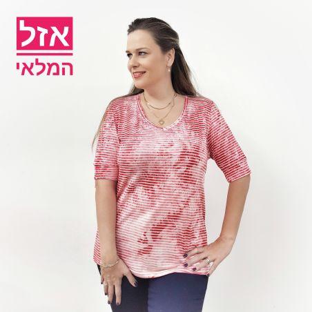 חולצת פסים אסיד מחשוף וי- אדום לבן (אזל המלאי)