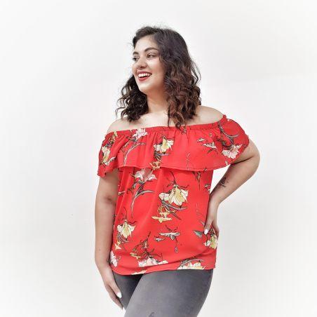 חולצת למבדה אדום פרחוני- SALE