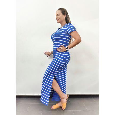 שמלת מקסי פסים- כחול רויאל לבן (SALE)